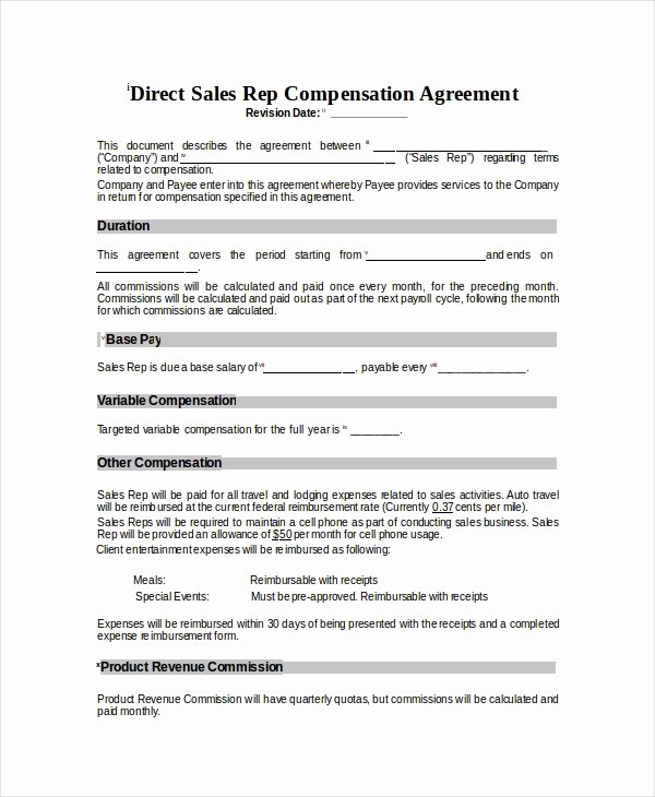 Sales Compensation Plan Template Lovely Pensation Plan Template 8 Free Word Document
