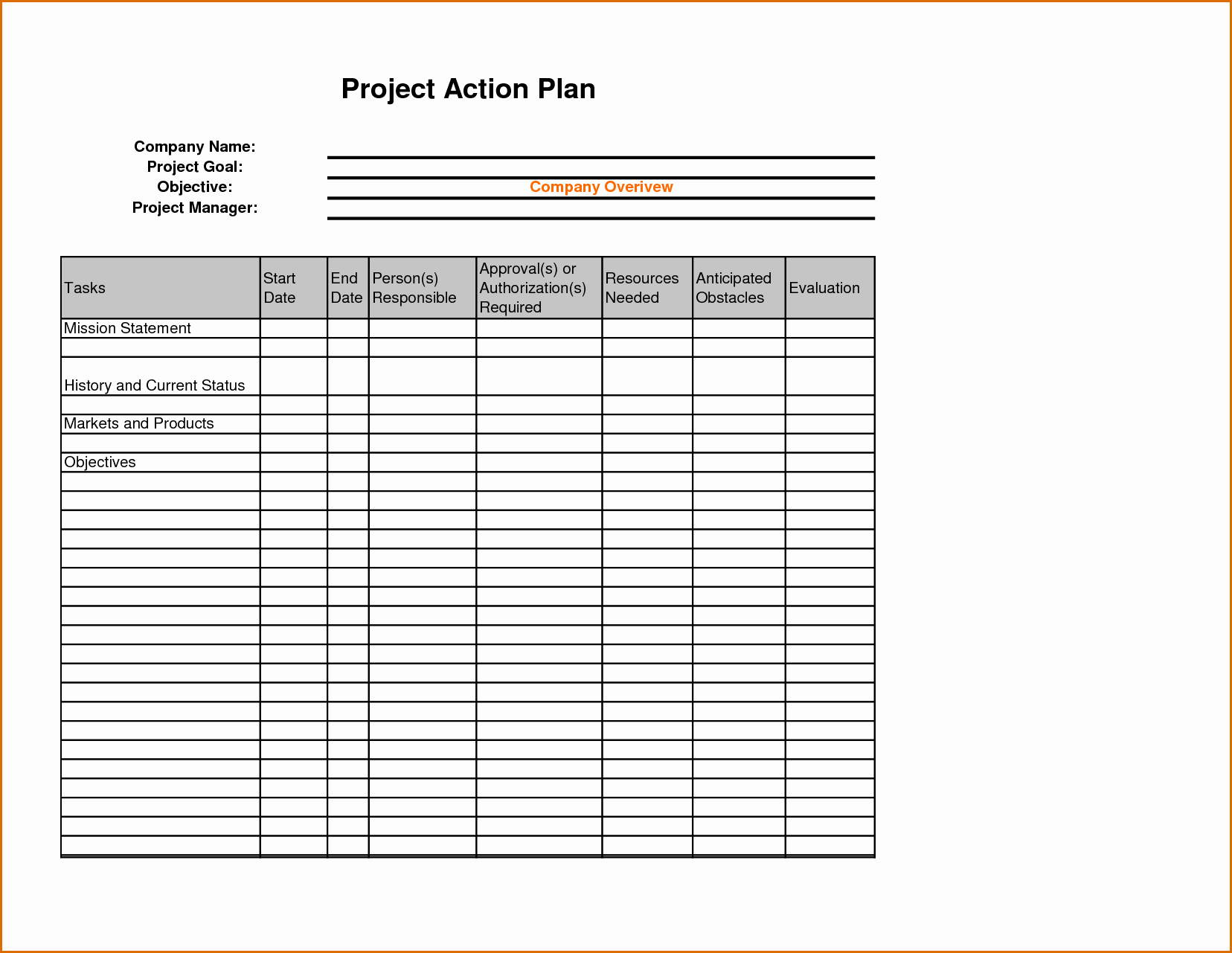 Sales Plan Template Excel Inspirational 8 Sales Action Plan Template