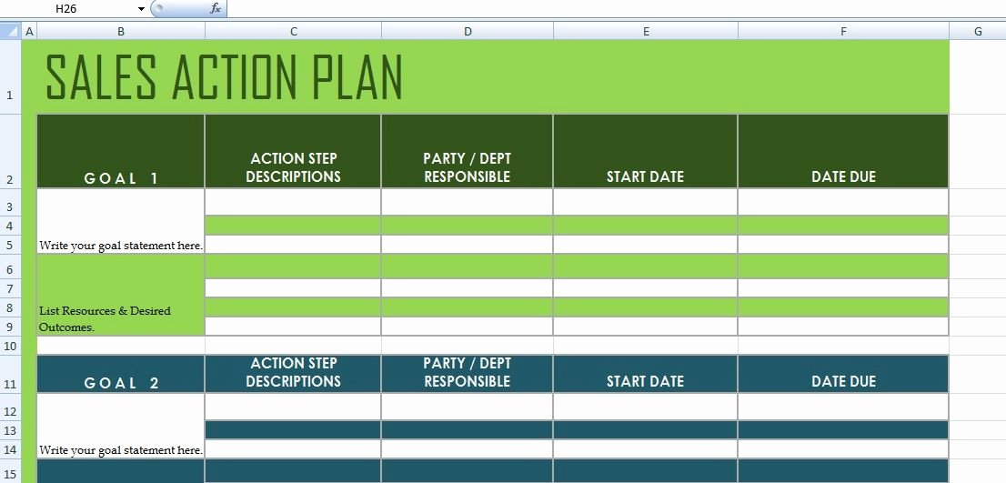 Sales Plan Template Excel Unique Get Sales Action Plan Template Xls