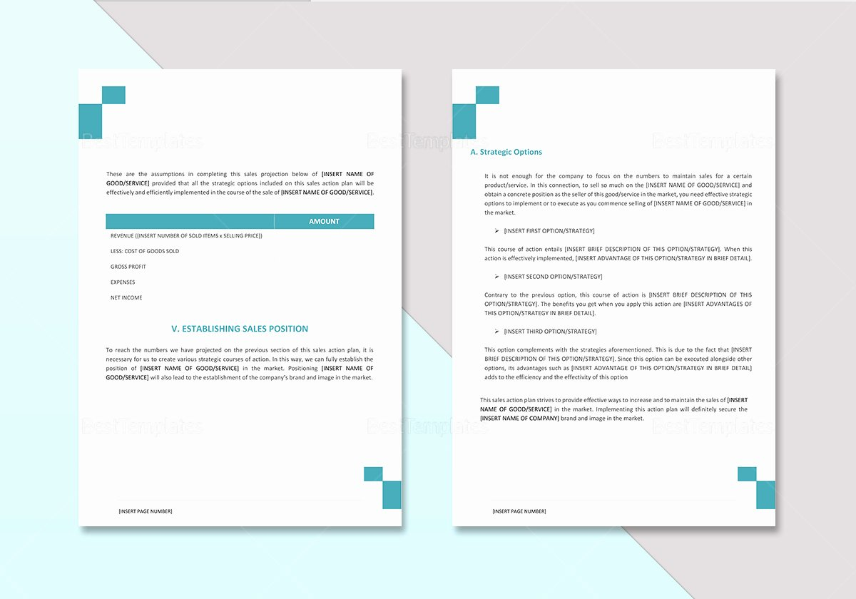 Sales Plan Template Word Elegant Sales Action Plan Template In Word Google Docs Apple Pages
