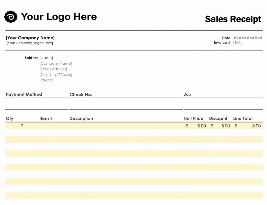 Sales Receipt Template Excel Lovely Cash Sales Receipt