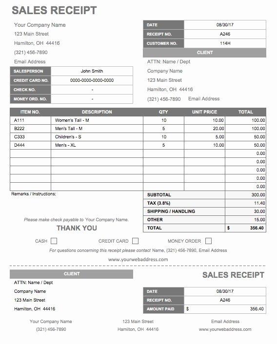 Sales Receipt Template Excel Luxury 13 Free Business Receipt Templates Smartsheet