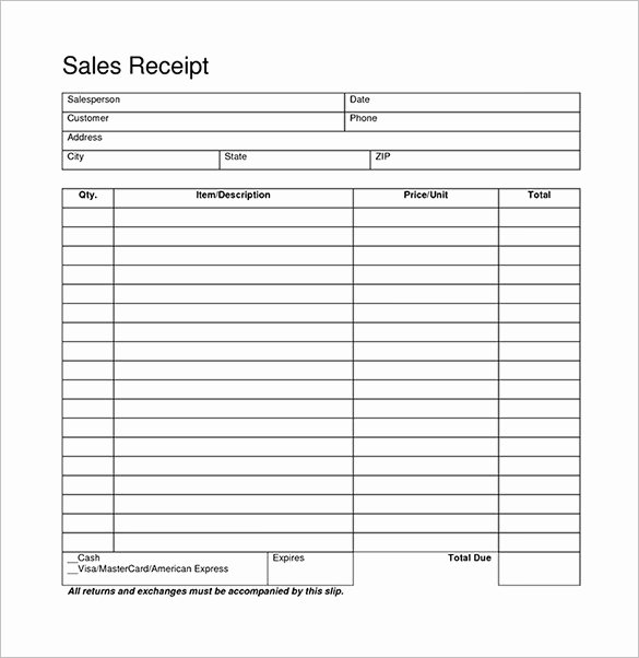 Sales Receipt Template Pdf Fresh Blank Receipt Template – 20 Free Word Excel Pdf Vector