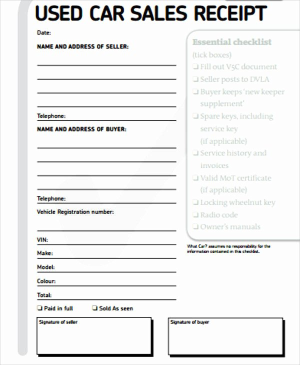 Sales Receipt Template Pdf Fresh Car Sales Receipt Sample 14 Examples In Word Pdf
