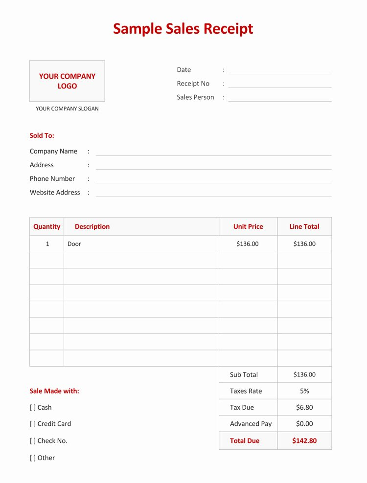 Sales Receipt Template Word Fresh 12 Free Sales Receipt Templates Word Excel Pdf