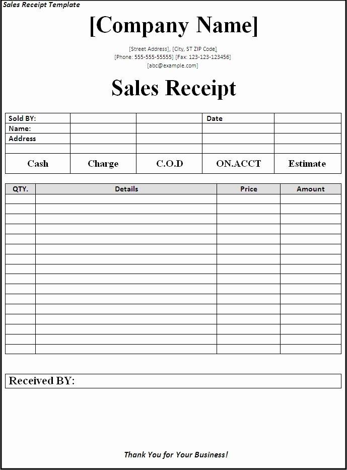 Sales Receipt Template Word Fresh Cash Receipt Template Microsoft Word Driverlayer Search