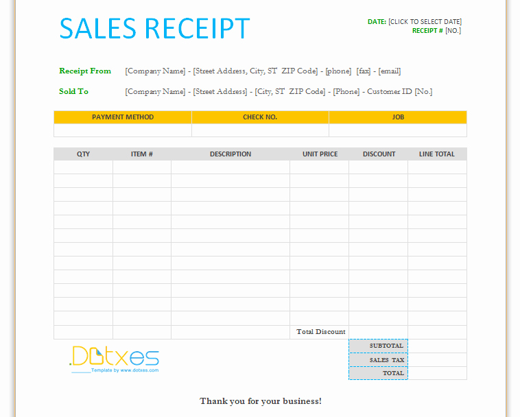 Sales Receipt Template Word Inspirational Sales Receipt Template for Word Dotxes