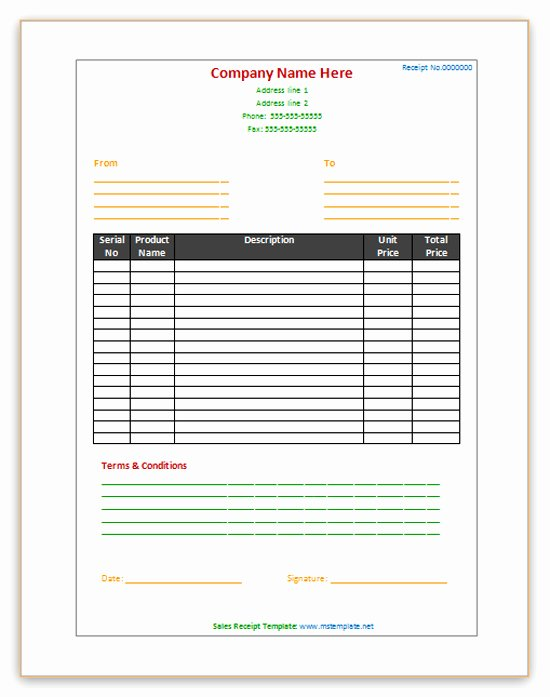 Sales Receipt Template Word Inspirational Sales Receipt Template Microsoft Fice Templates