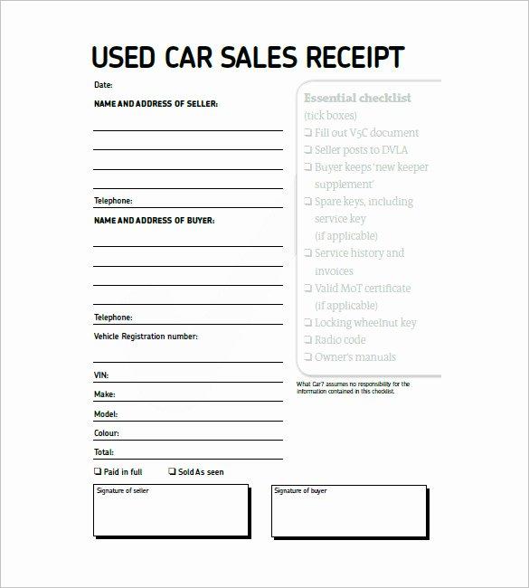 Sales Receipt Vs Invoice Unique Used Car Invoice Template
