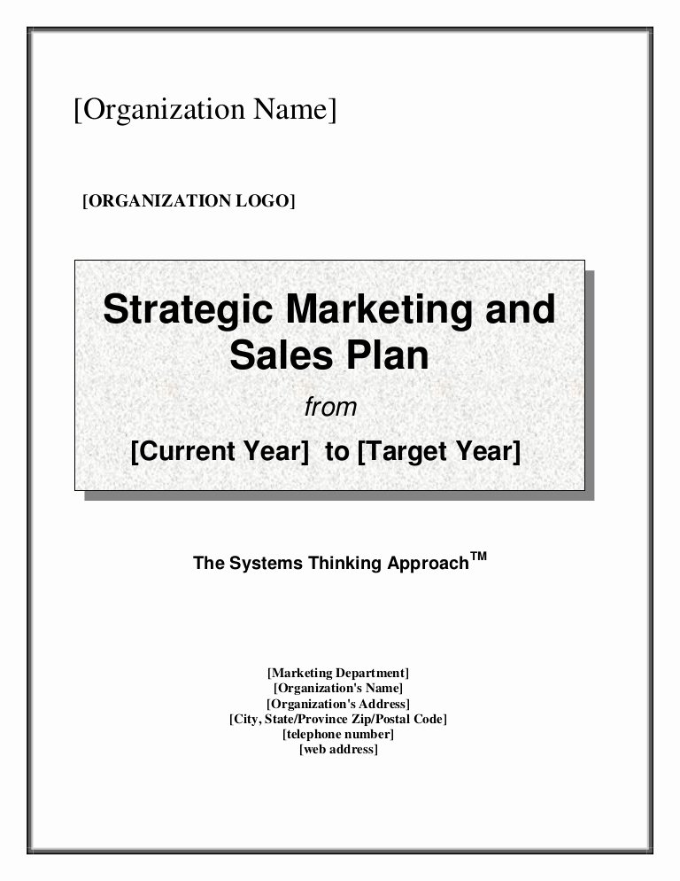 Sales Strategy Plan Template Luxury Strategic Marketing & Sales Plan Template