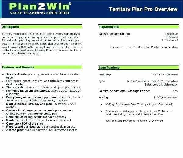 Sales Territory Plan Template Inspirational Sales Business Plan Template Free Sales Business Plan