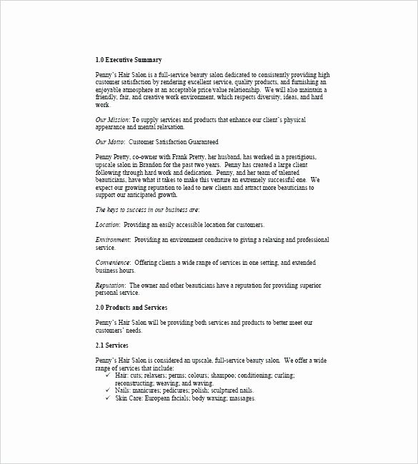 Salon Business Plan Template Awesome Business Plan for Salon Hair Salon Business Plan Free