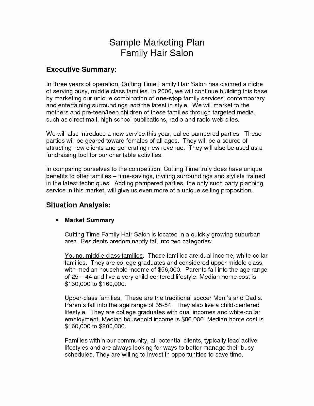 Salon Business Plan Template Best Of Hair Salon Business Plan Sample