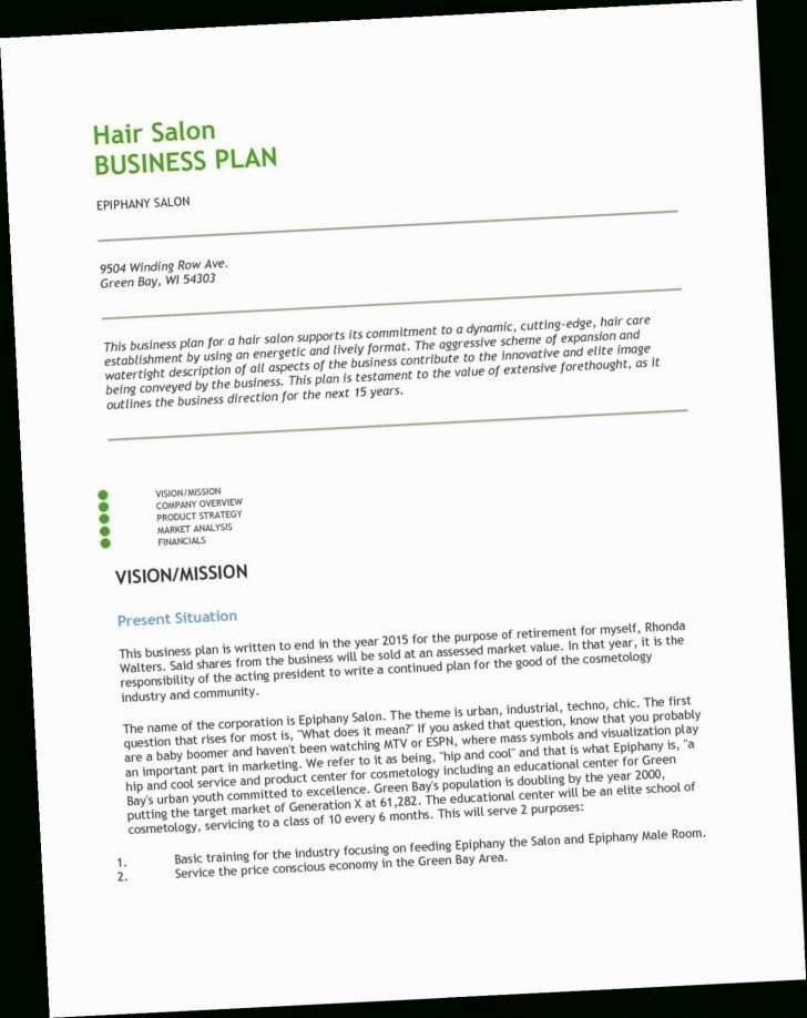 Salon Business Plan Template Fresh Spa Business Plan Template Day Financial Sales Proposal