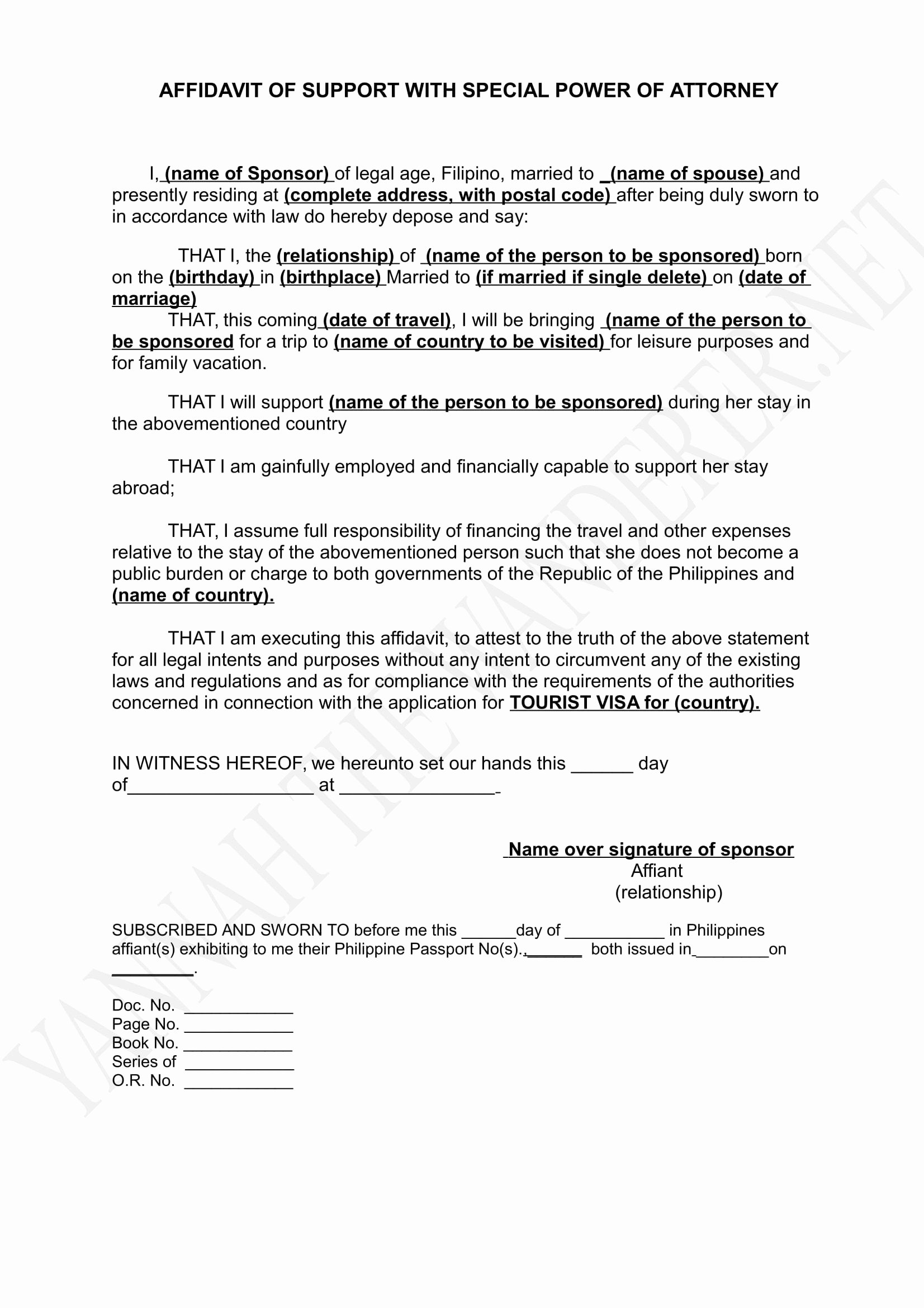 Sample Affidavit Of Support Letter Awesome Visa Documents Affidavit Of Support