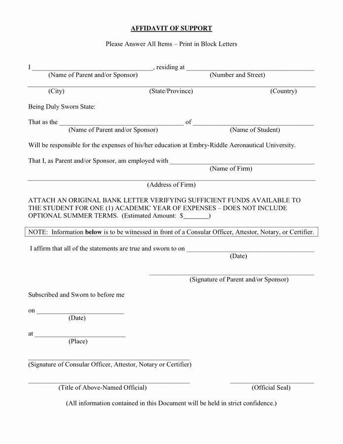 Sample Affidavit Of Support Letter New Affidavit Of Support In Word and Pdf formats
