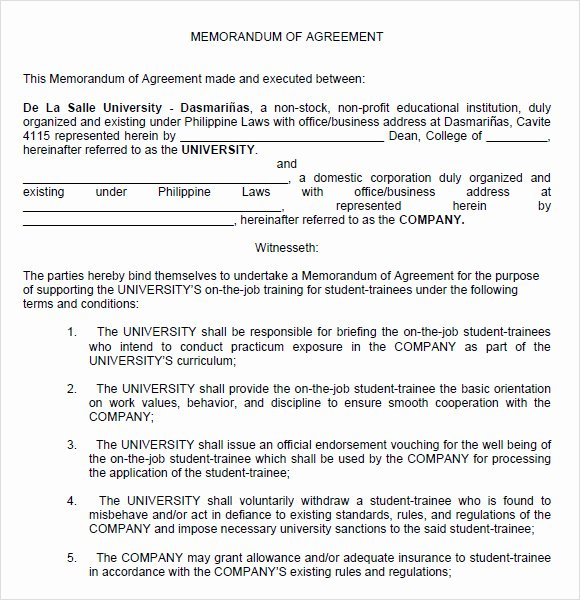 Sample Agreement Letter Between Two Parties Awesome 10 Memorandum Of Agreements – Pdf Word