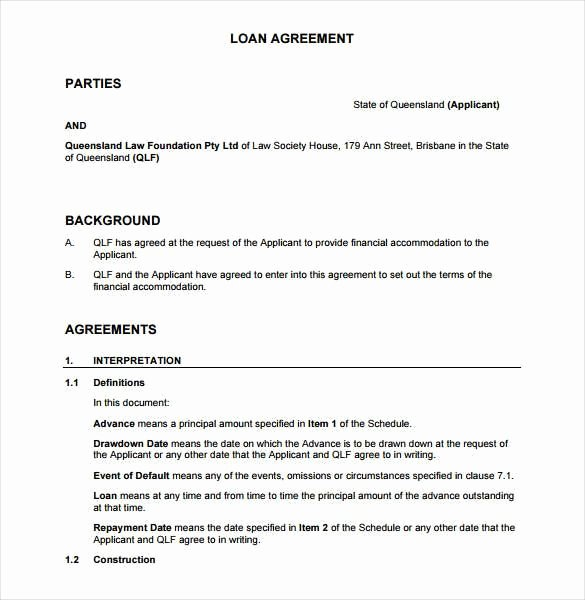 Sample Agreement Letter Between Two Parties New Sample Loan Agreement Between Two Parties