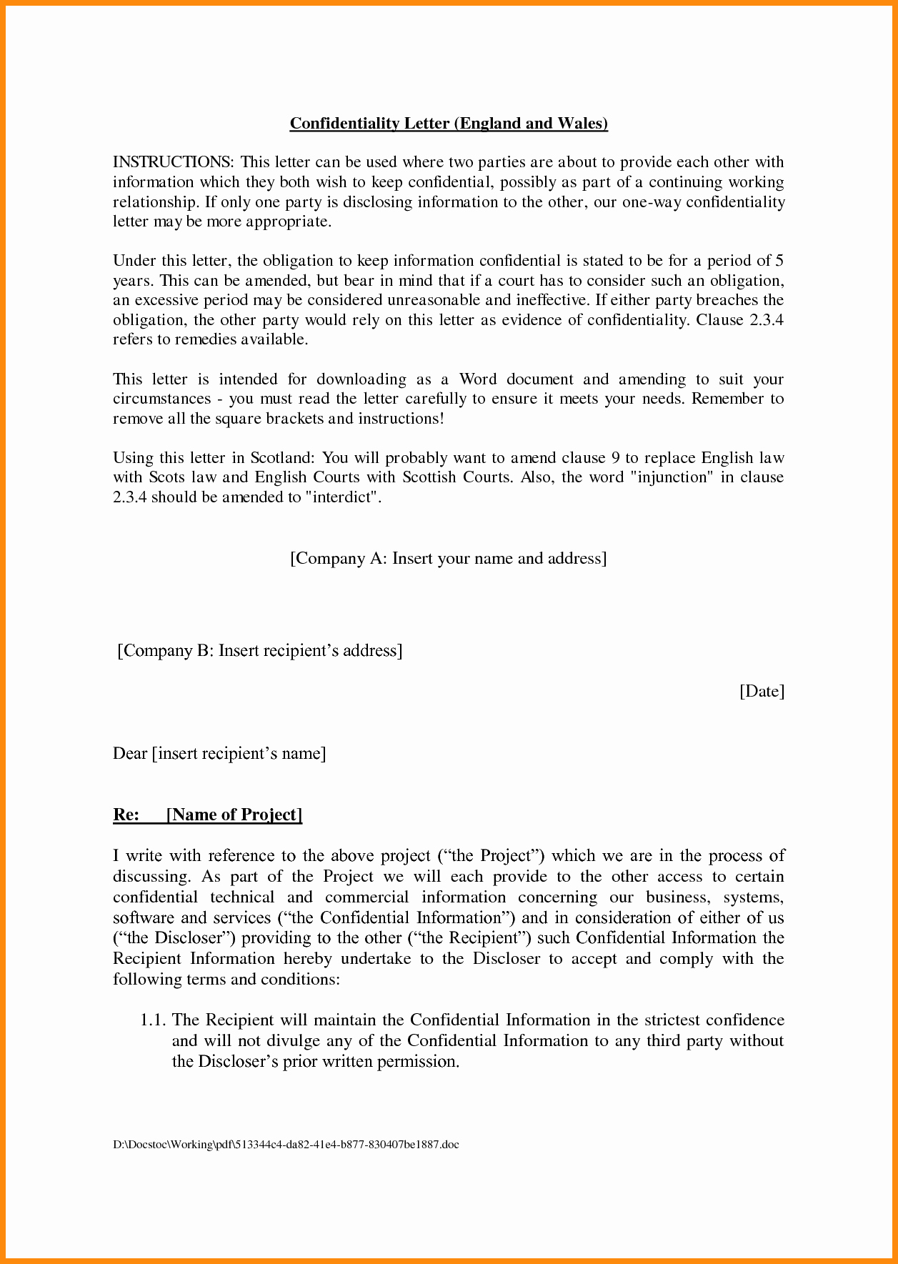 Sample Agreement Letter Between Two Parties Unique Agreement Letter Between Two Parties