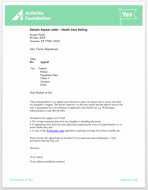 Sample Appeal Letter format New Sample Appeal Letters Access to Care toolkit