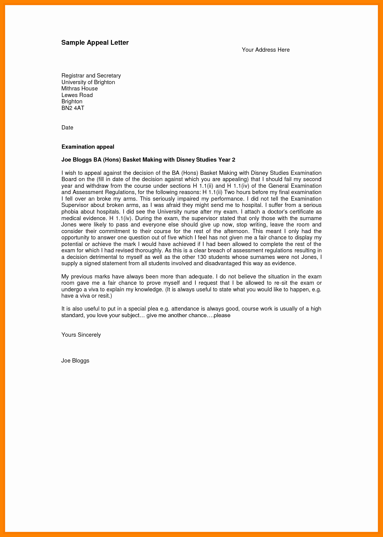 Sample Appeal Letter format Unique 7 Sap Appeal Letter Example