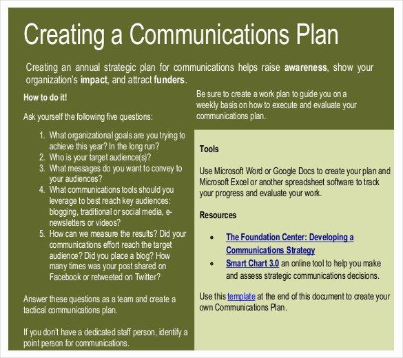 Sample Communications Plan Template Fresh 12 Munication Strategy Templates Free Sample