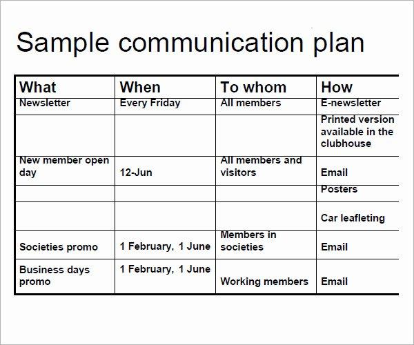 Sample Communications Plan Template Lovely 16 Samples Of Munication Plan Templates Pdf Word