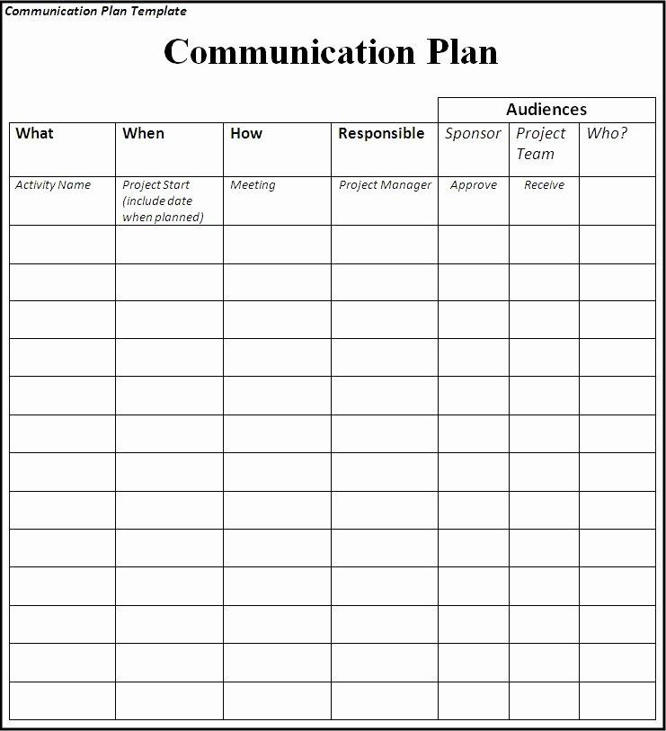 Sample Communications Plan Template Unique Munications Plan Template