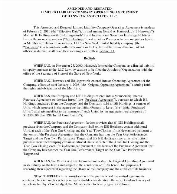 Sample Cottage Llc Operating Agreement Awesome 14 Operating Agreement Templates – Sample Example