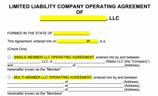 Sample Cottage Llc Operating Agreement Best Of Free Llc Operating Agreement Templates Pdf