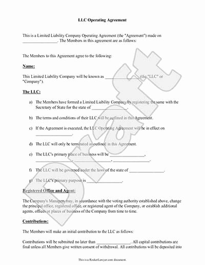 Sample Cottage Llc Operating Agreement Best Of Llc Operating Agreement Template