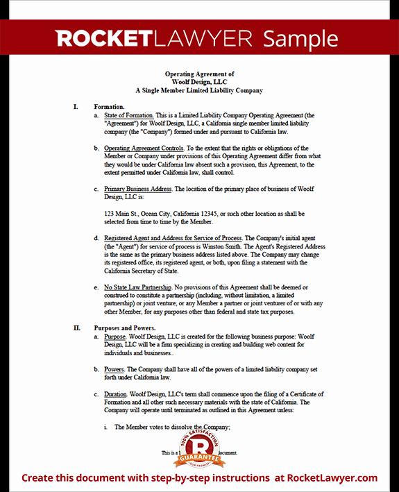 Sample Cottage Llc Operating Agreement Elegant Single Member Llc Operating Agreement