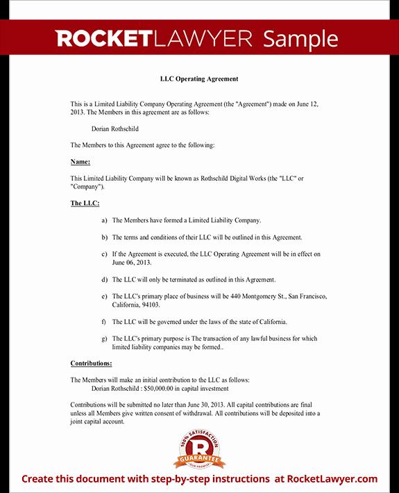 Sample Cottage Llc Operating Agreement Fresh Llc Operating Agreement
