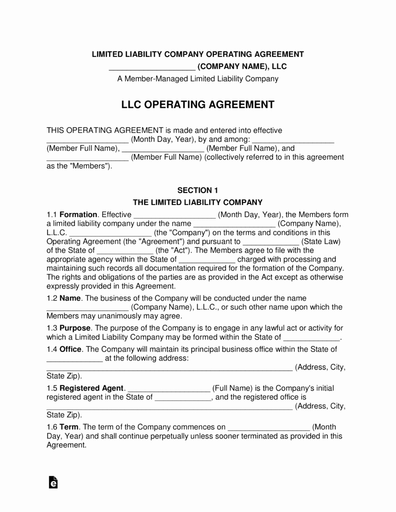 Sample Cottage Llc Operating Agreement Inspirational Multi Member Llc Operating Agreement Template