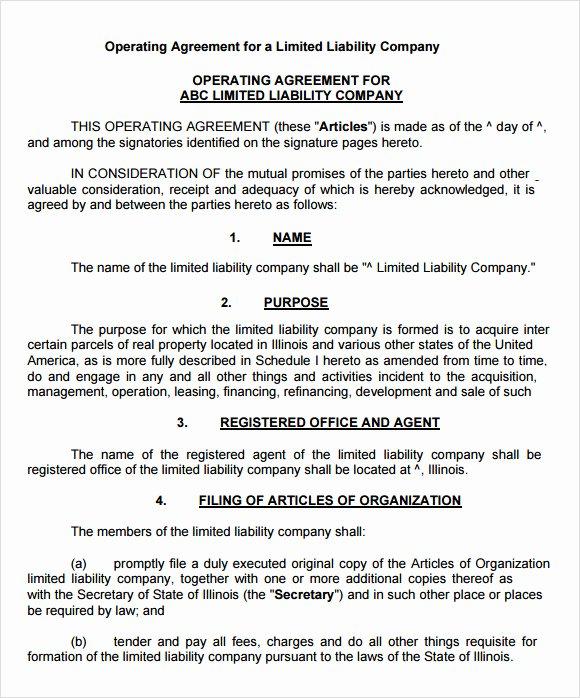 Sample Cottage Llc Operating Agreement Luxury 9 Sample Llc Operating Agreement Templates to Download