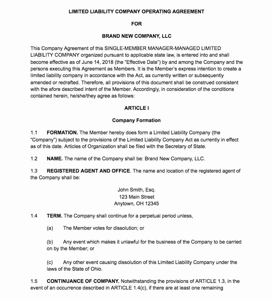 Sample Cottage Llc Operating Agreement Luxury How to Create An Llc Operating Agreement [ Free Templates]