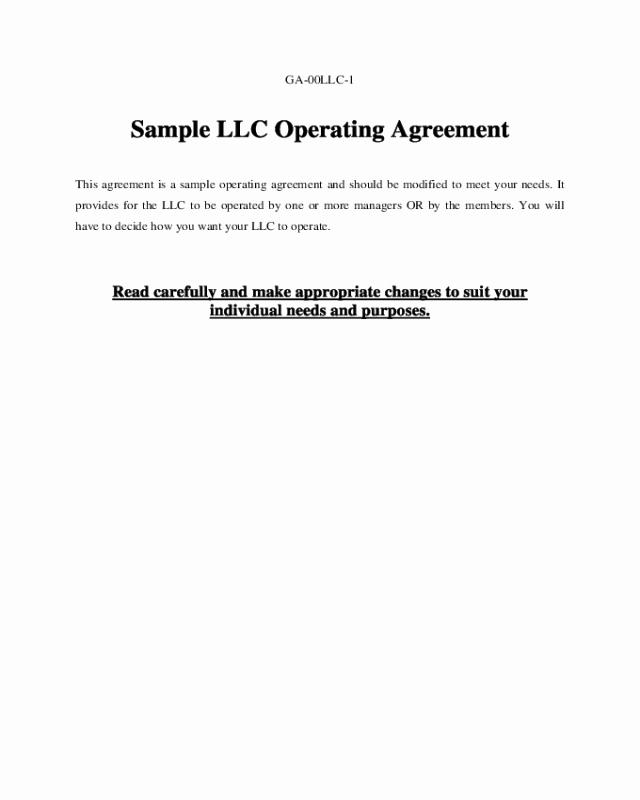 Sample Cottage Llc Operating Agreement Luxury Sample Llc Operating Agreement Edit Fill Sign Line