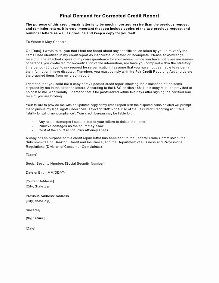 Sample Credit Repair Letter Awesome Sample Letter Final Demand for Corrected Credit Report