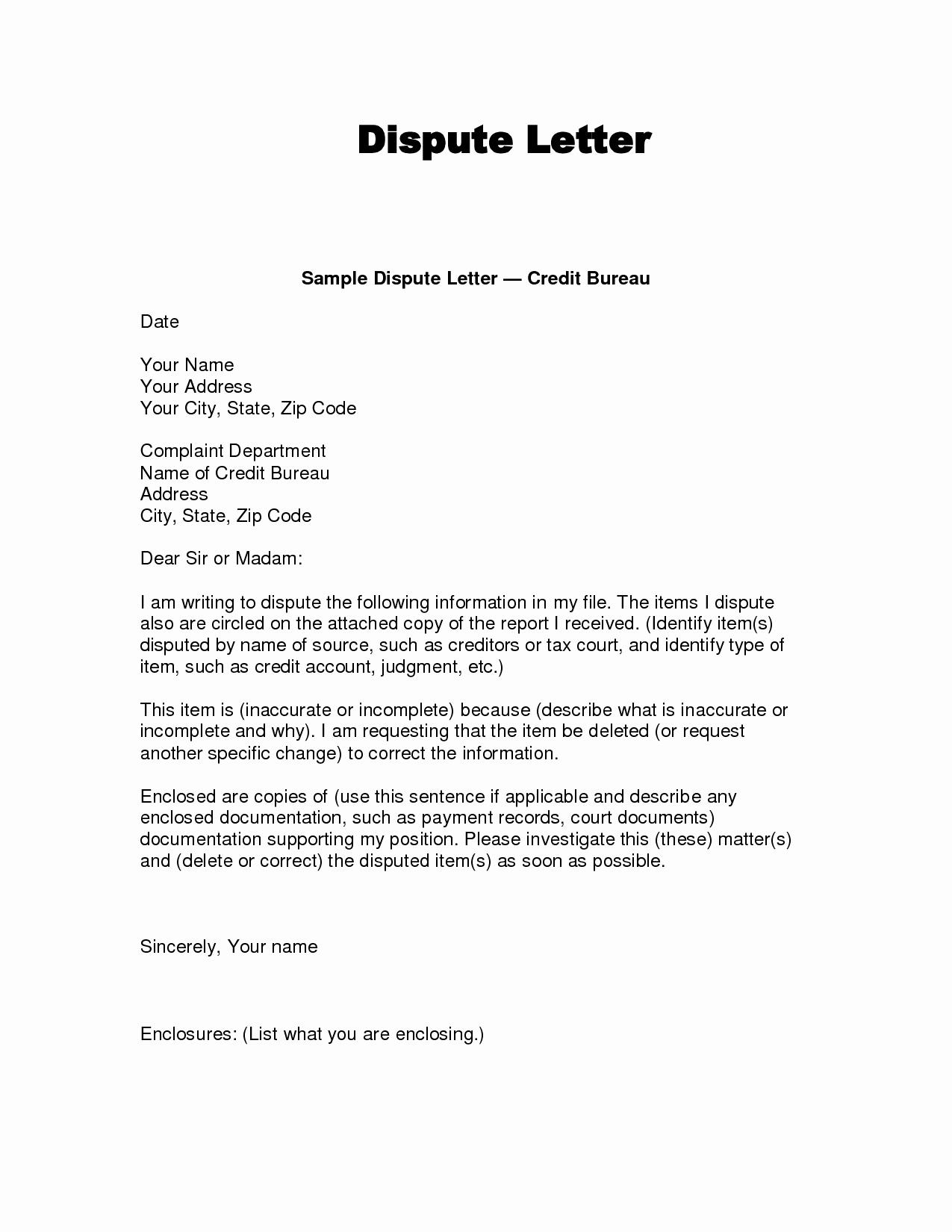 Sample Credit Repair Letter Elegant Dispute Letter to Credit Bureau Template