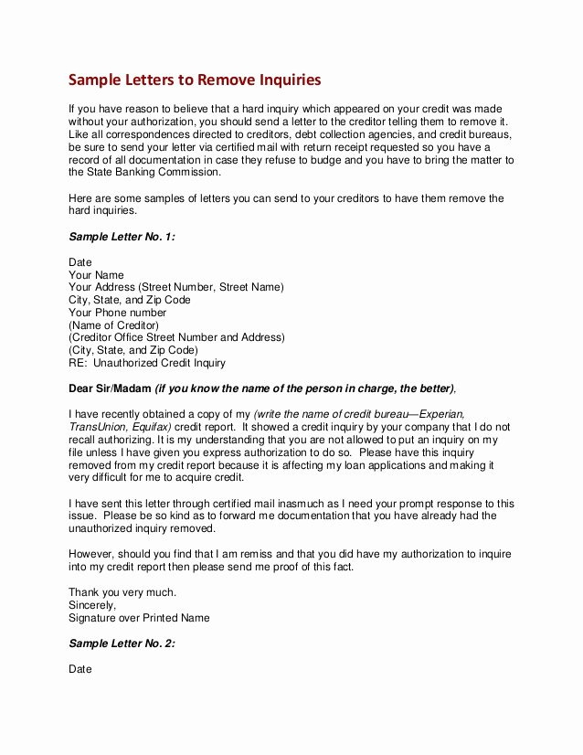 Sample Credit Repair Letter Inspirational Sample Letters to Remove Inquiries