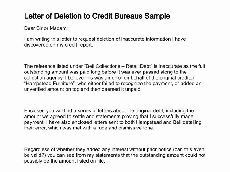 Sample Credit Repair Letter Luxury Letter Of Deletion