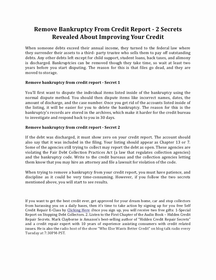 Sample Credit Repair Letter New Remove Bankruptcy From Credit Report 2 Secrets Revealed