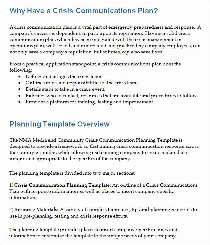 Sample Crisis Communication Plan Template Fresh 3 Crisis Munication Plan Templates Doc Pdf