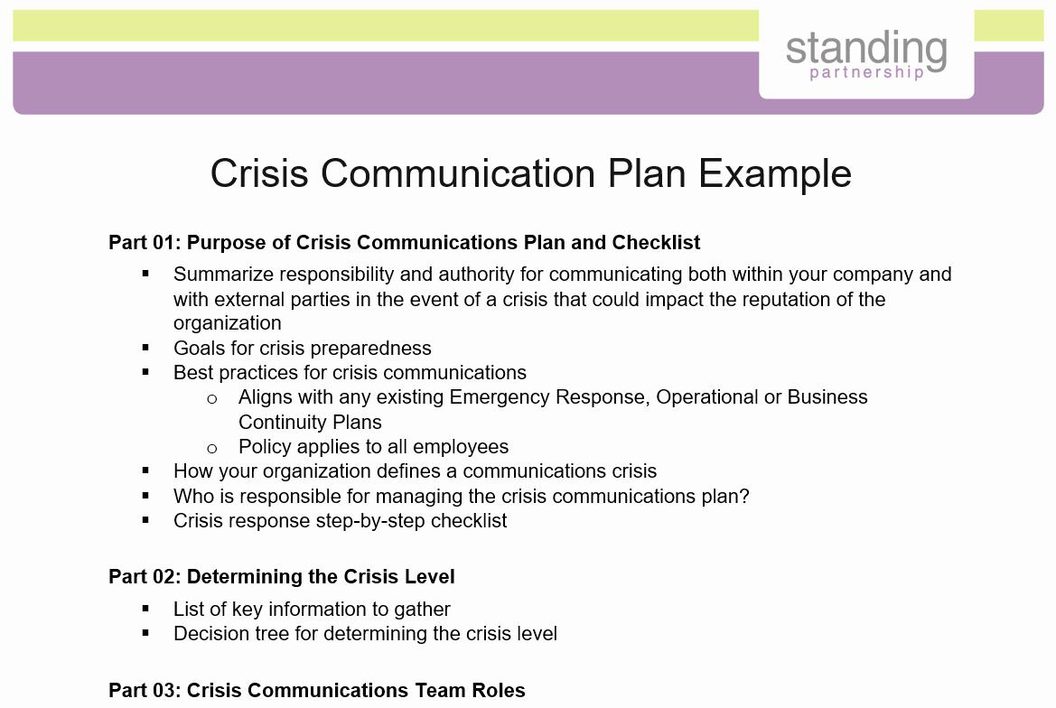 Sample Crisis Communication Plan Template Unique Crisis Munication Plan Example Standing Partnership