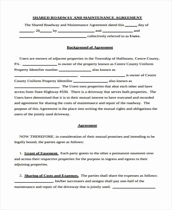 Sample Driveway Easement Agreement Awesome Sample Road Maintenance Agreement forms 6 Free