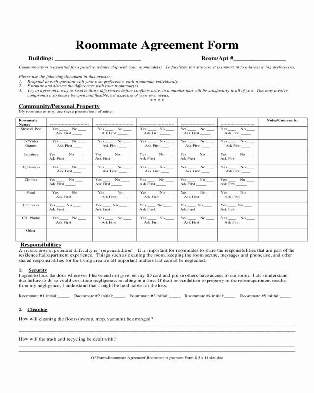 Sample Driveway Easement Agreement Beautiful 2019 Roommate Agreement form Fillable Printable Pdf