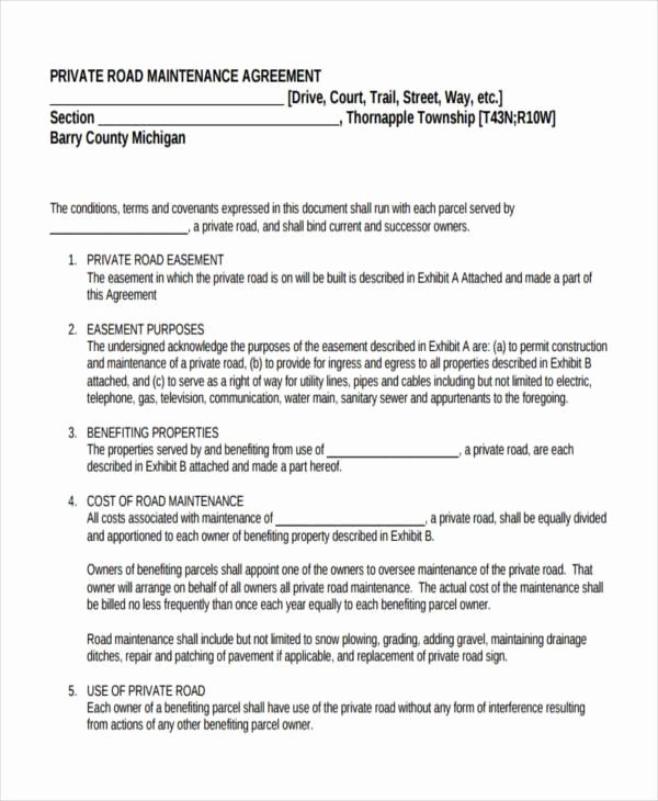 Sample Driveway Easement Agreement Elegant 8 Road Maintenance Agreement form Samples Free Sample