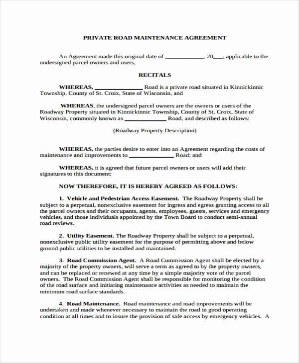 Sample Driveway Easement Agreement Elegant Sample Road Maintenance Agreement forms 6 Free