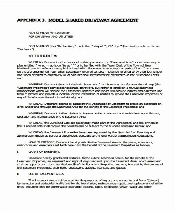 Sample Driveway Easement Agreement Inspirational 6 Driveway Easement Agreement form Samples Free Sample