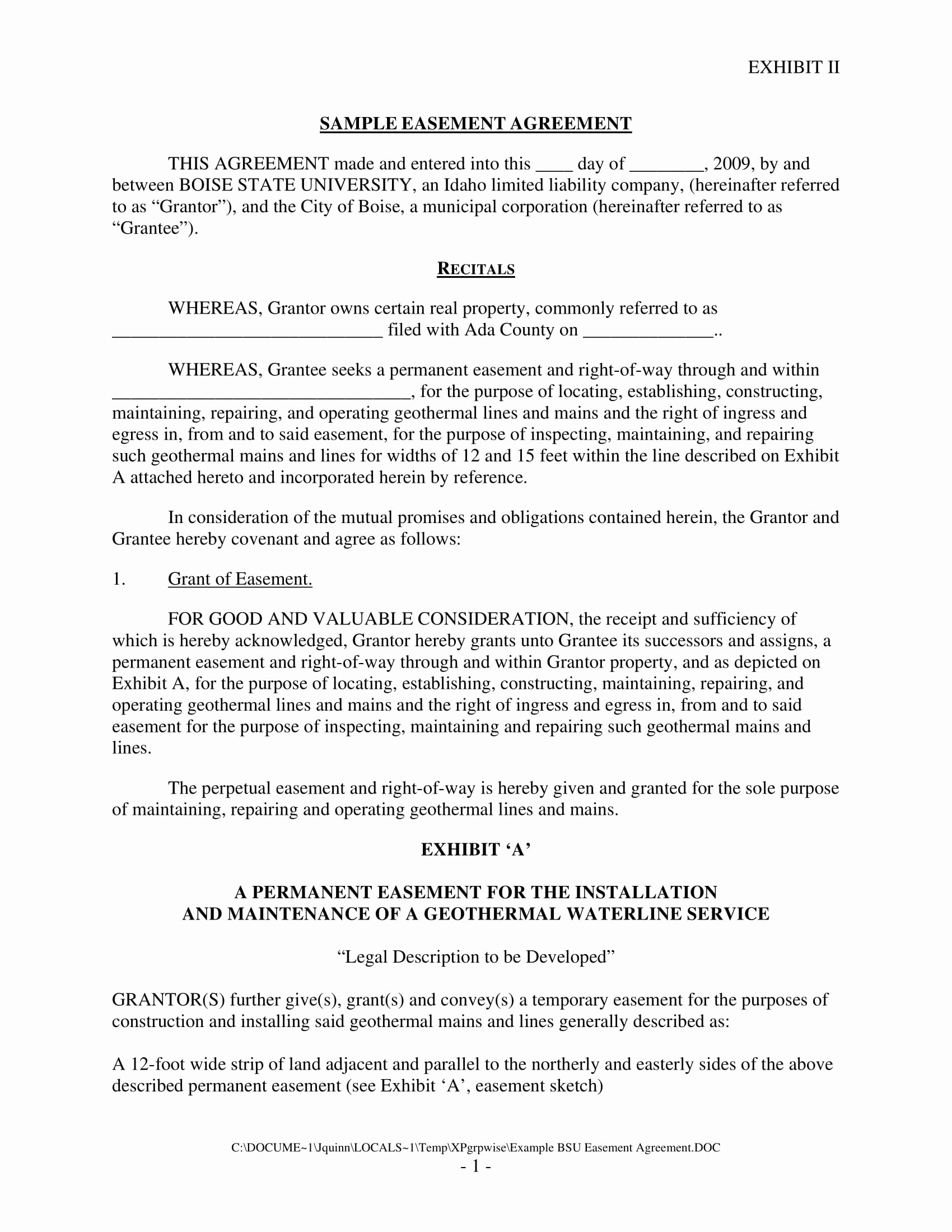 Sample Driveway Easement Agreement Inspirational Easement Agreement Example